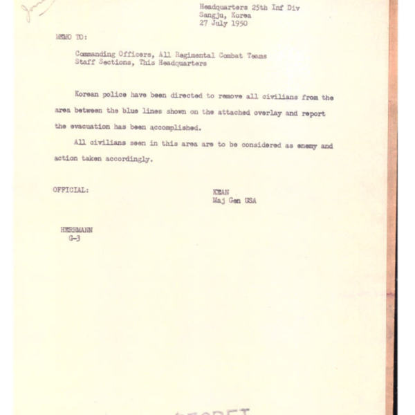 Memo from General Kean to the 25th Infantry Division Headquarters