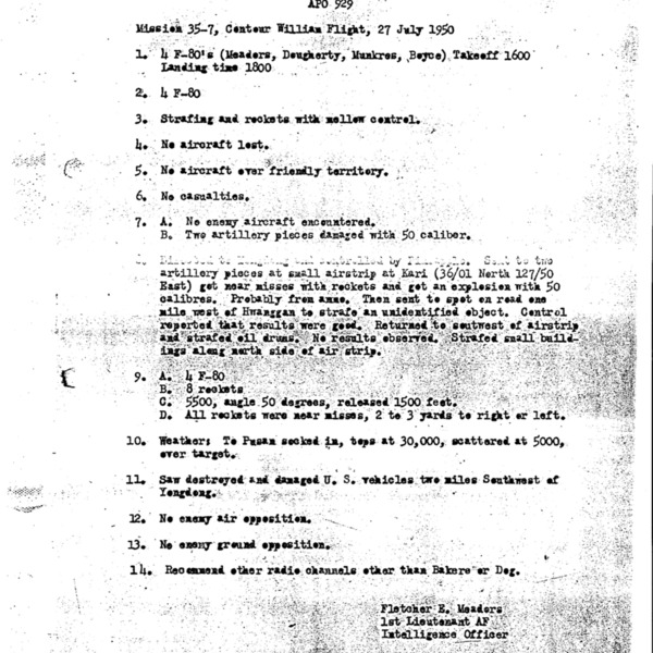 After-Mission Report for 35th Fighter Bomber Squadron's Mission 35-7